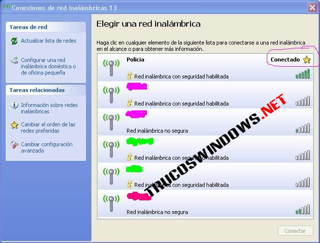 conexión inalámbrica en Windows XP Profesional Service Pack 2 con seguridad WEP