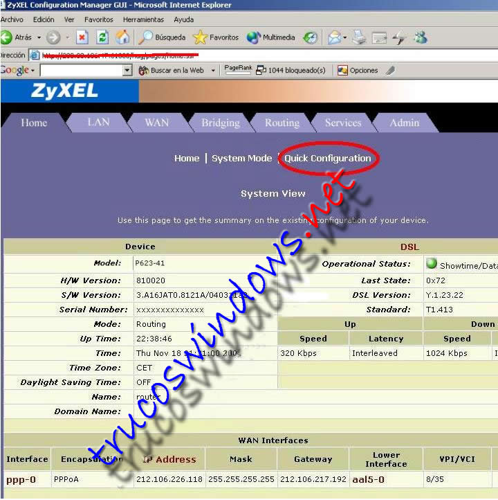 Panel administracion router Zyxel 623-41